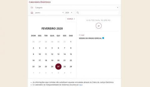Tribunal de Justiça disponibiliza Calendário Eletrônico no Portal e fixa feriados de 2020