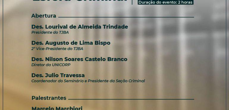 TJBA promove seminário virtual sobre precedentes judiciais criminais